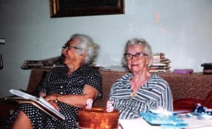 Alice & Elsie  January 22,1983. Note the stacks of books- Elsie remained a life long lover of books.