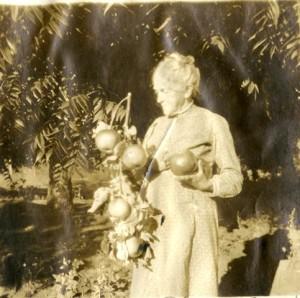Elsie's Aunt Mamie holding Palomar Giant apples.