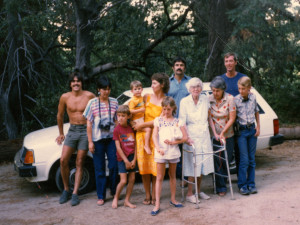 About 1984. Elsie with our family on Palomar. She was still coming up her mountain even at age 96.