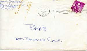 Read Elsie's story and find out about this letter delivered to me on Palomar Mountain.